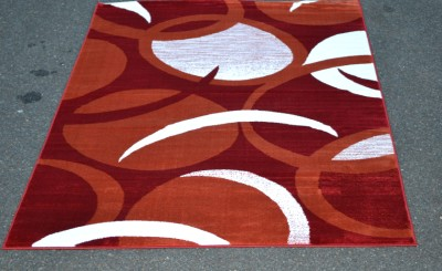 Burnt Orange Red White Modern Swirls Abstract 5x7 Area Rug