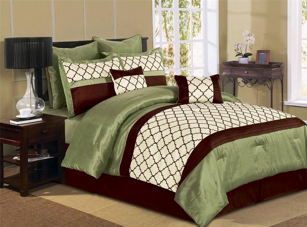 8 Pcs Luxury Microfiber Comforter Set Park Ave Queen King