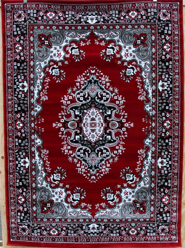 0889 Black Red Gray Oriental Area Rug Persian New Carpet