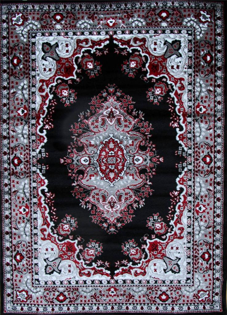 0889 Black Red Gray Oriental Area Rug Persian New Carpet