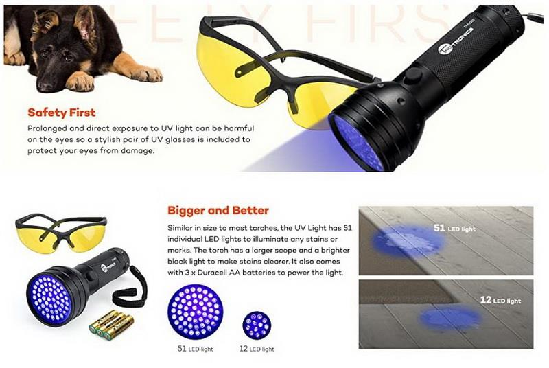 51 Leds Uv Blacklight Flashlights Detector Dry Pets Urine
