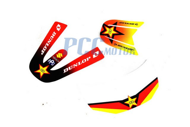 ROCKSTAR GRAPHICS DECAL Sticker PLASTIC SEAT KIT Fuel Tank Seat PW50 Peewee 50 T