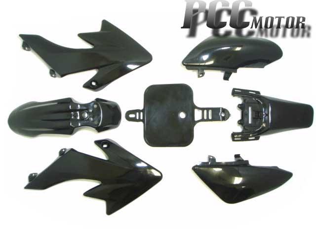 7PC BLACK PLASTIC FENDER KIT for XR50 CRF50 PIT DIRT BIKE COOLSTER SSR125 I PS02