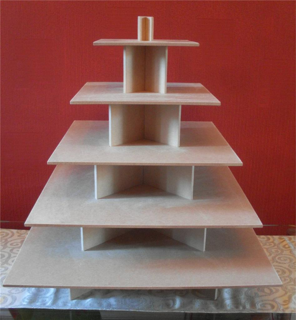 5 Tier Square Cupcake Party Wedding Cake Buffet Stand Ebay