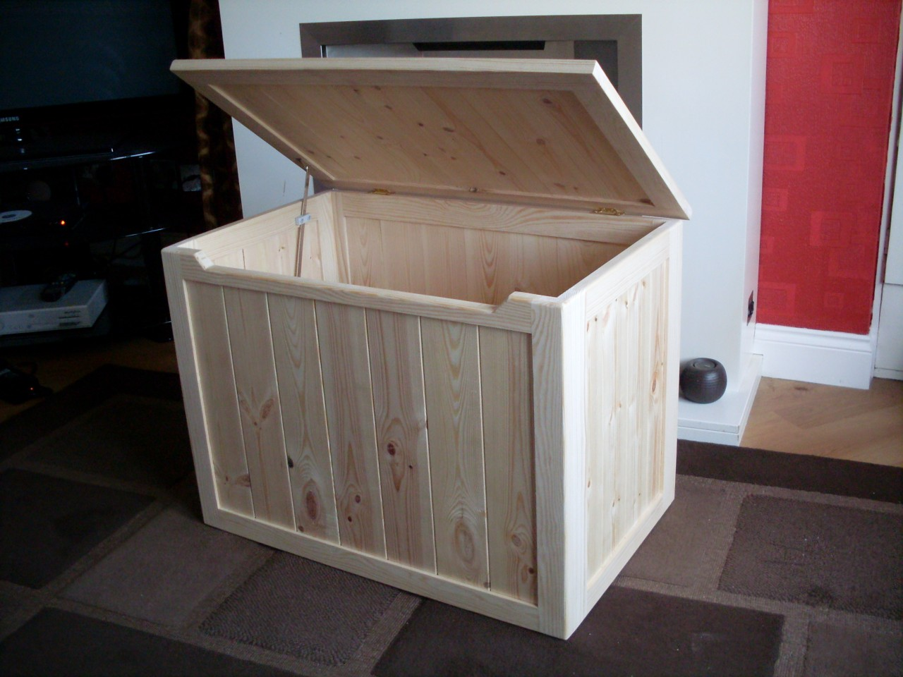 details about beautiful hand crafted pine wooden toy box, blanket box, chest