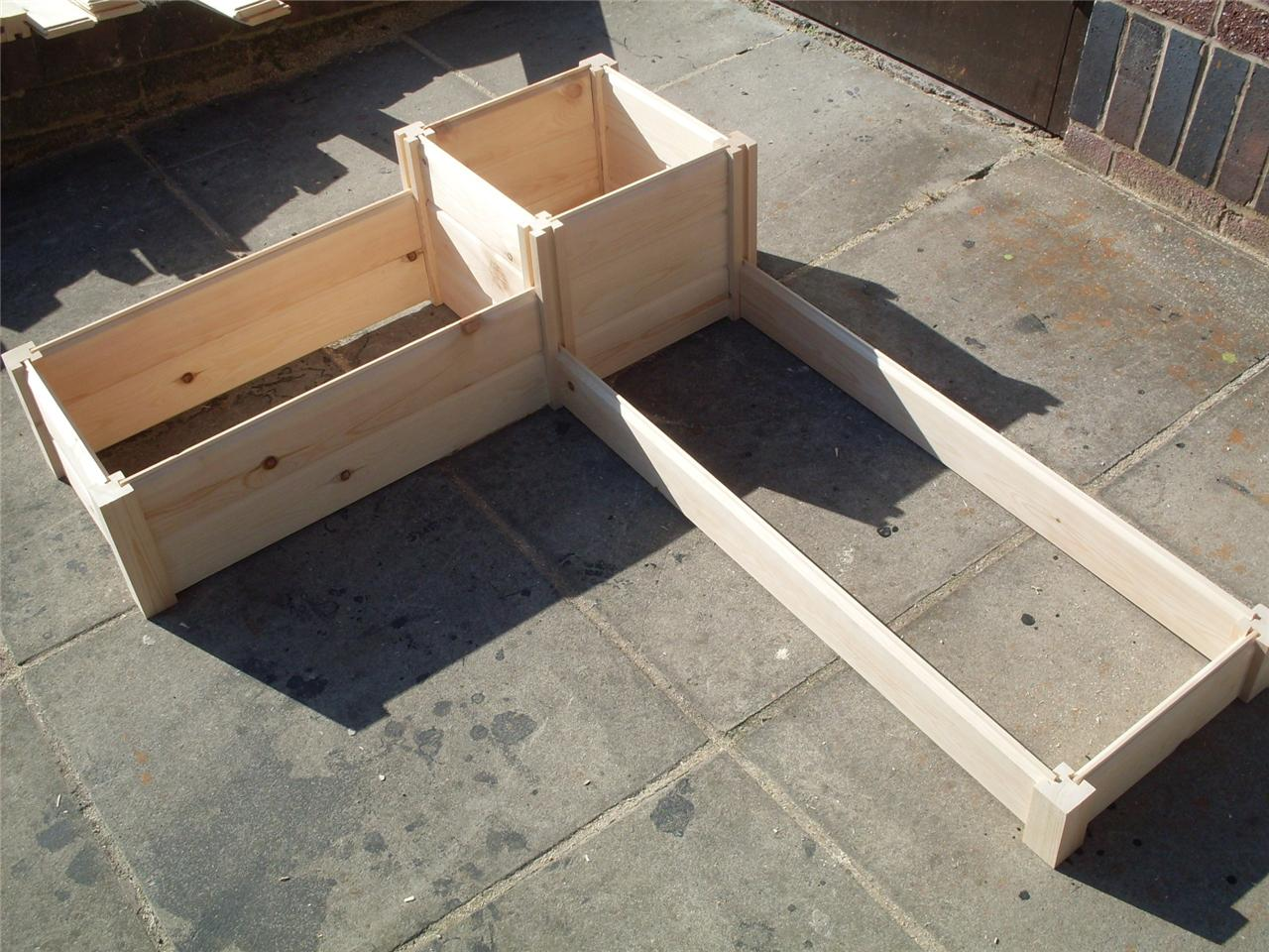 Corner wooden timber raised planter bed grow your own for Wooden garden planter designs