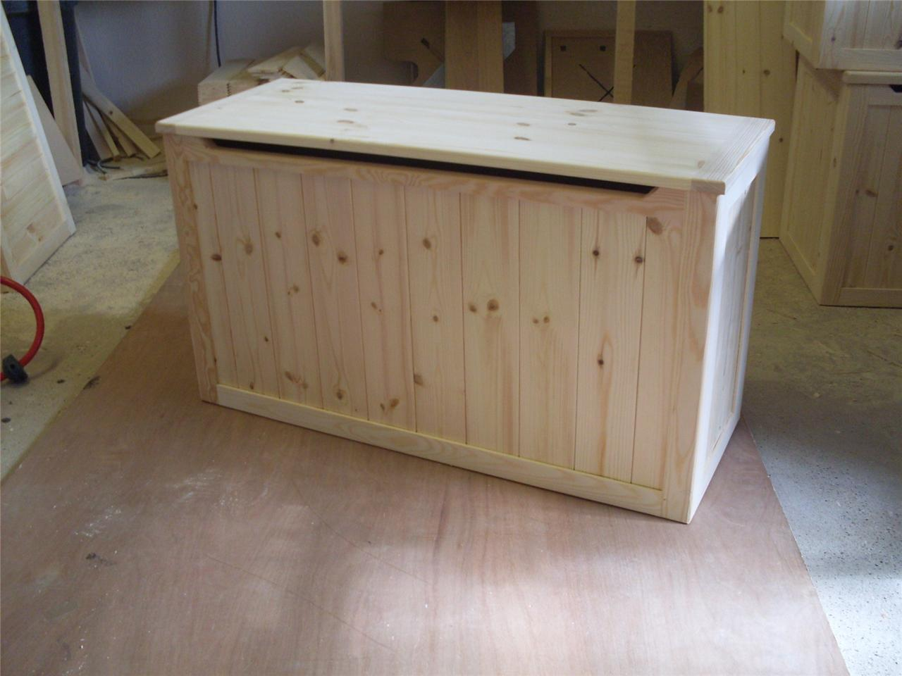 Beautiful hand crafted pine wooden toy box blanket