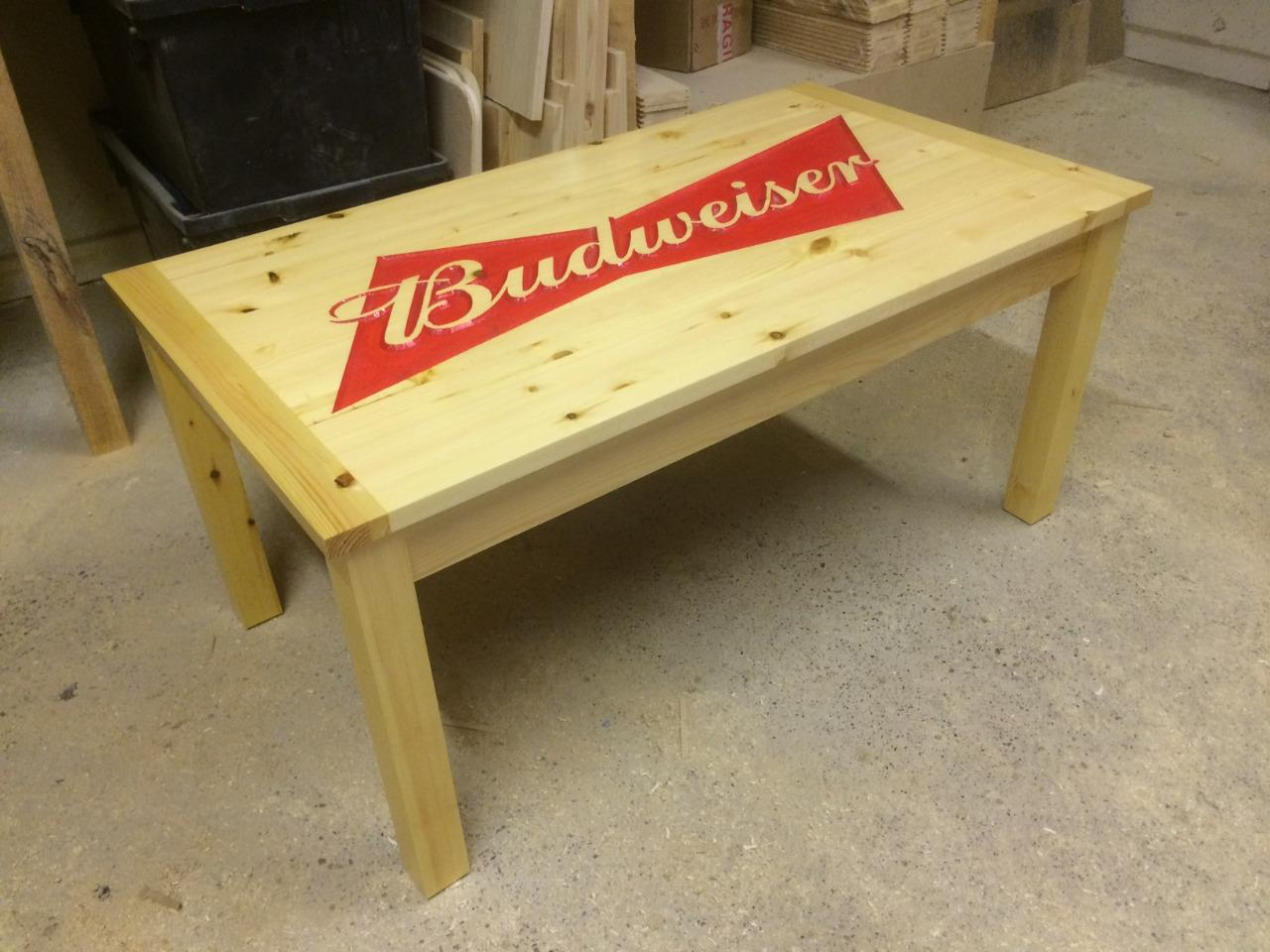 Bespoke Carved Budweiser Coffee Table Man Cave Lady Cave Games Room Ebay