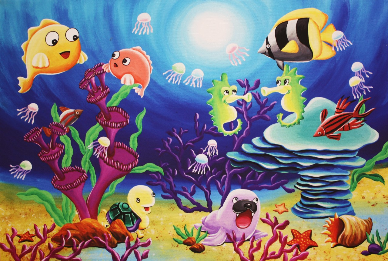 Large Original Prints on Canvas Sea Animals -Childrens ...