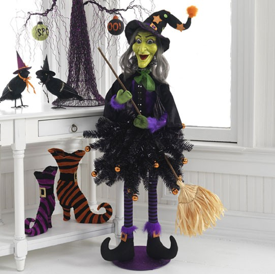 New Raz Imports Black Halloween Tree In Urn 4 Foot Flat