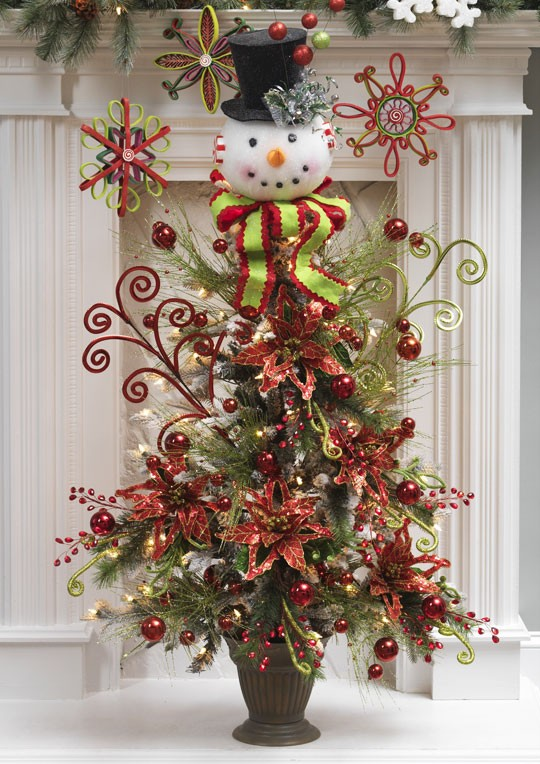 Snowman Head w Black Top Hat Christmas Tree Topper ...