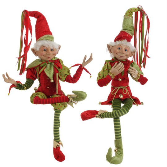 Christmas Elf In Red Santa Suit Posable Decoration 16