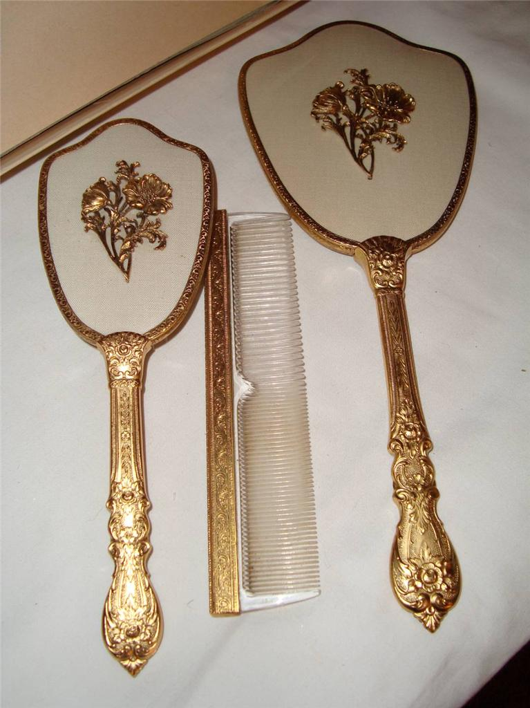 "Vintage Mirror Brush Comb Vanity Set ""Matson"" 24KT Gold ..."