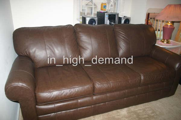 SLEEP NUMBER SELECT COMFORT QUEEN 5000 BROWN LEATHER SOFA