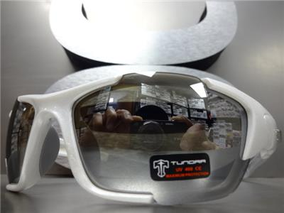 31e8f9285d Details about Mens WRAP AROUND SPORT CYCLING Casual Dressy SUN GLASSES  White Frame Mirror Lens