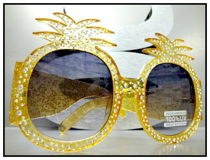 OVERSIZED RETRO Style Pineapple Shape SUN GLASSES Orange Frame Bling Crystals