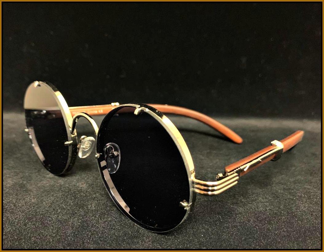 Mens Classy Sophisticated Elegant SUNGLASSES Gold Faux Wood Frame LUXURY Fashion