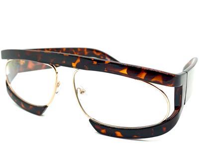 Surdimensionné Big imprimé léopard écaille de tortue Plat Haut Lunettes De Soleil 3 points marron