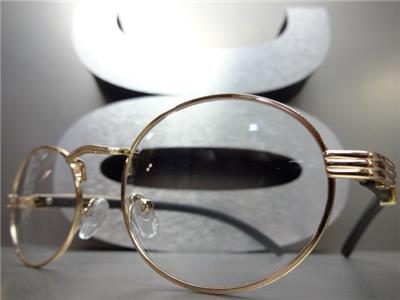 22f5eda0d1ae Details about Men s CLASSY MODERN Clear Lens EYE GLASSES Oval Gold   Faux Wood  Wooden Frame