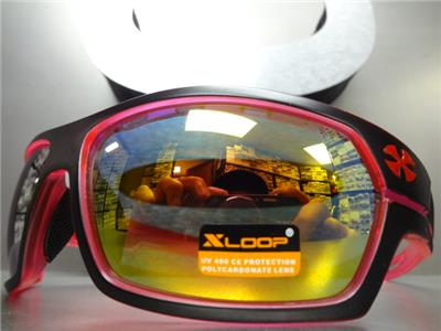 14f01c8086 Details about WRAP AROUND SPORT Motorcycle Riding Driving Fishing SUN  GLASSES Black Pink Frame