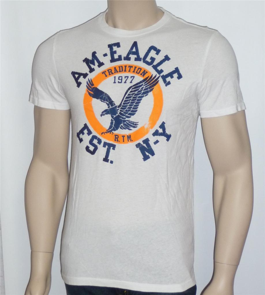American Eagle Outfitters AEO Mens Circle Eagle Logo White ...