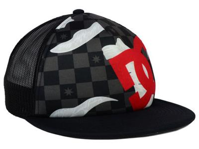 LANAI MESH SNAPBACK TRUCKER HAT CAP DC SHOES Black Checkered