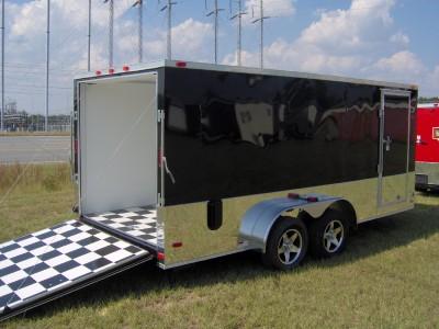 7x16 enclosed ATV cargo motorcycle trailer black Finished interior toy