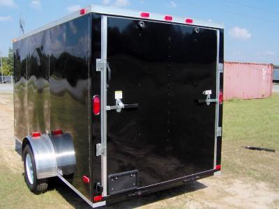 6x12 plus 2ft v nose enclosed ATV cargo motorcycle trailer black NEW