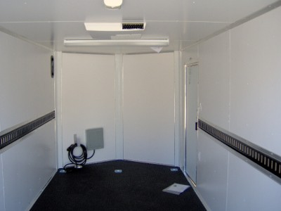 7x16 enclosed motorcycle cargo trailer A/C unit e track