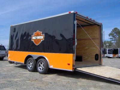 enclosed motorcycle cargo 4 bike trailer Harley Davidson ramp door NEW