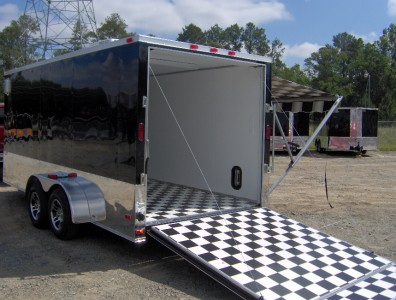 7x16 enclosed motorcycle cargo trailer A/C unit w awning toy hauler