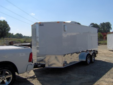 7x16 enclosed motorcycle cargo trailer A/C unit awning White race