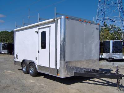 8.5x16 enclosed motorcycle cargo trailer A/C unit awning ...