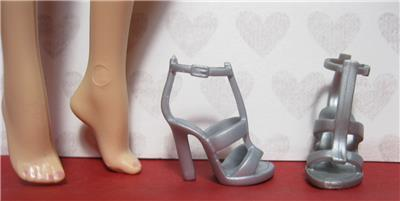 """Doll Shoes 4 Pair Candi 11.5-12/"""" STRAPPY HIGH HEELS Fit Barbie Integrity F R"""