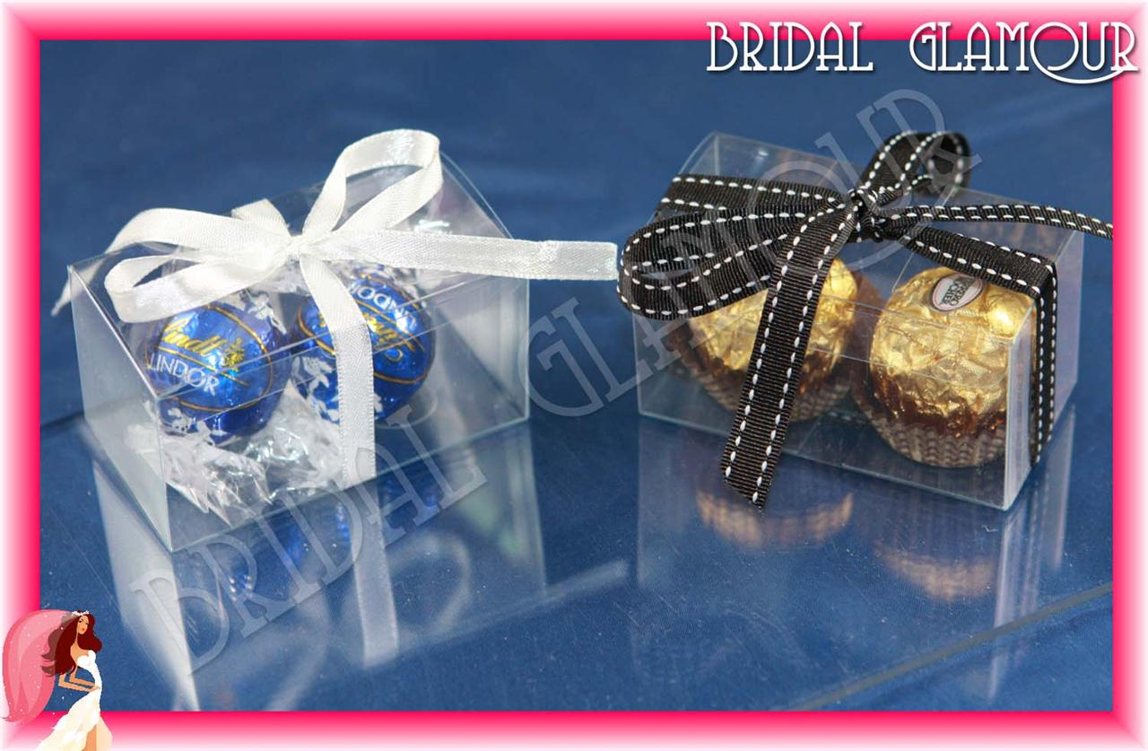 100pc Clear 7x4x4cm Truffle Bomboniere Box Wedding Favour Pvc