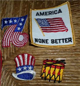 11pc Set Vintage 1976 Bicentennial Patriotic Patches Flags Hats More NOS NICE