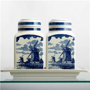 Charmant Delft Blue Canister Set Hand Made In Holland Vintage Kitchen Jars Windmill  Boats