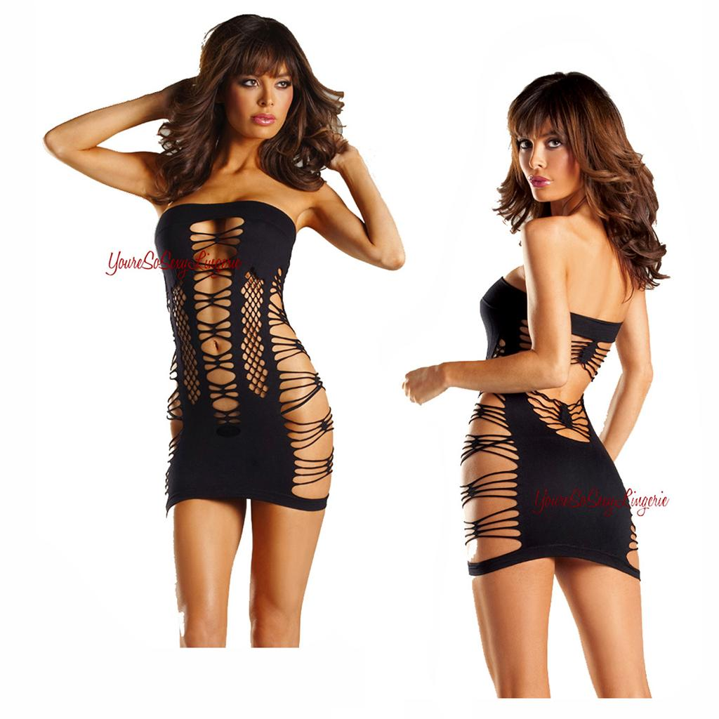 Black SPANDEX Mini DRESS STRAPPY TUBE Dress SEAMLESS Strapless Cut