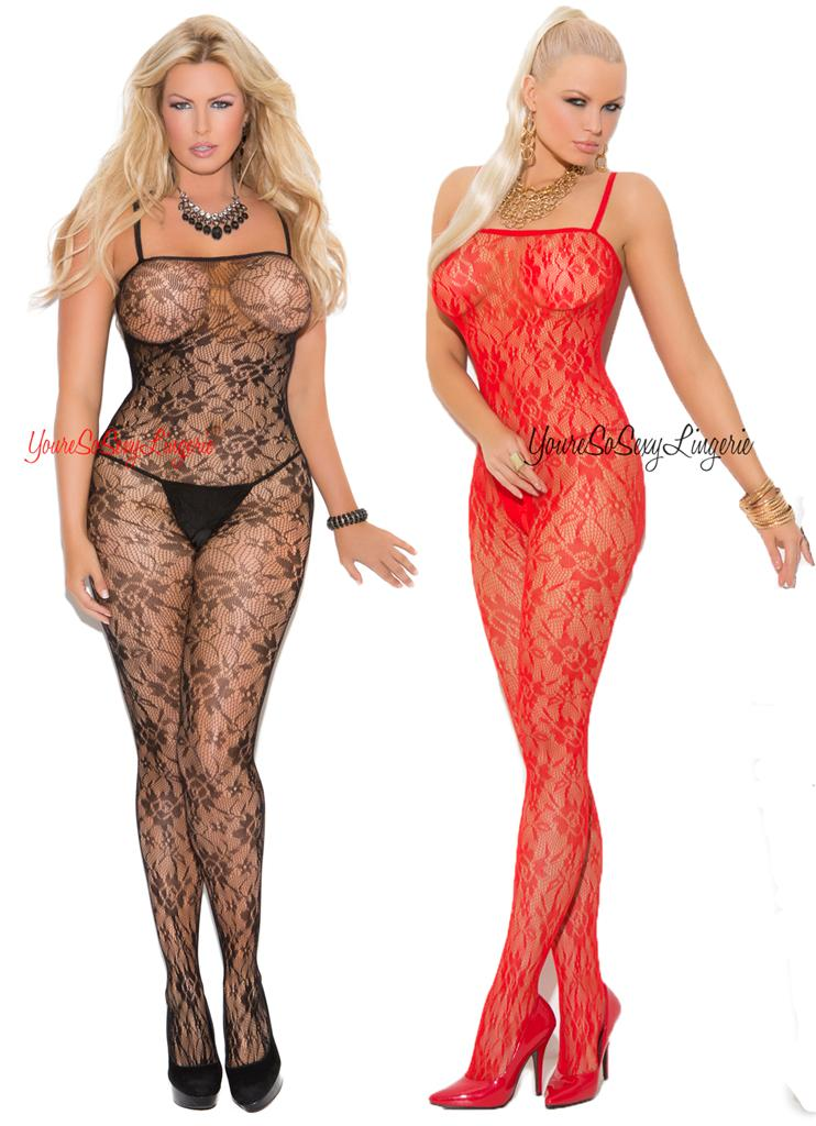 522c5804fbd Stockings   Thigh-Highs Plus Size Lingerie One Size Queen Rose Floral Lace  Crotchless Nylon Bodystocking Women s Clothing