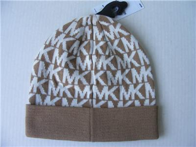 b756dd3e3de Michael Kors Hat Camel White Print or Gray MK Repeat Logo Beanie Cap NEW  42
