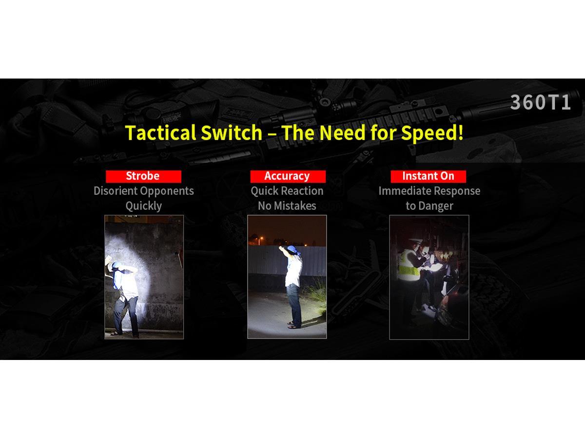 Klarus 360T1 Omni-Directional Rapid Response Tactical Flashlight Tail Switch