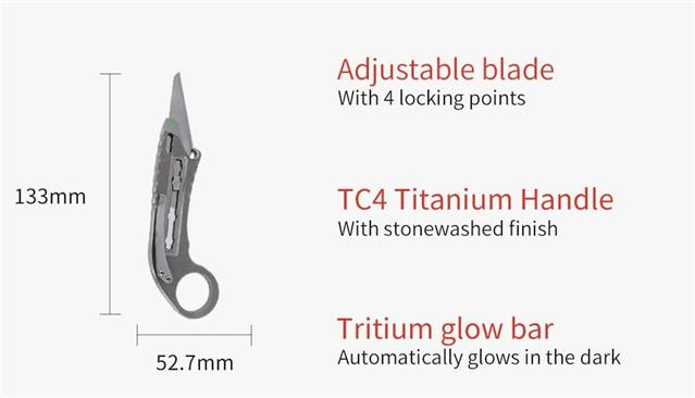 MecArmy EK50 Titanium Ti Retractable Knife 440A+TC4+Necklace
