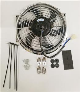 "10/"" Chrome Radiator Electric Cooling Fan w// 180 Degree Relay Kit /& Install Kit"