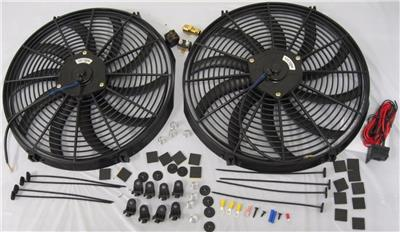 "210 Thermostat Kit Dual 16/"" Extreme Duty S-Blade Electric Cooling Radiator Fan"