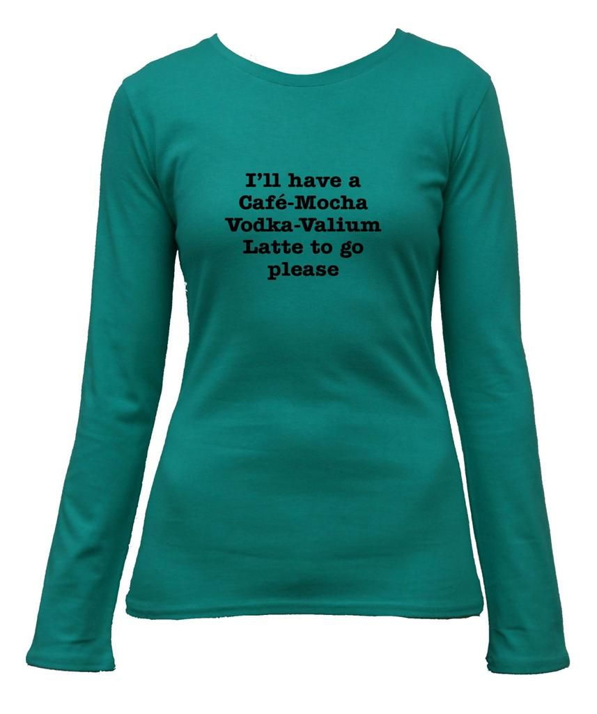 Cafe Vodka Valium Latte Funny Slogan Coffee T Shirt Ladies
