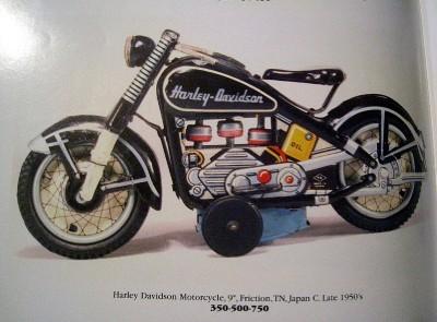 "TN Nomura Tin Friction Harley Davidson Motorcycle 9"" EX"