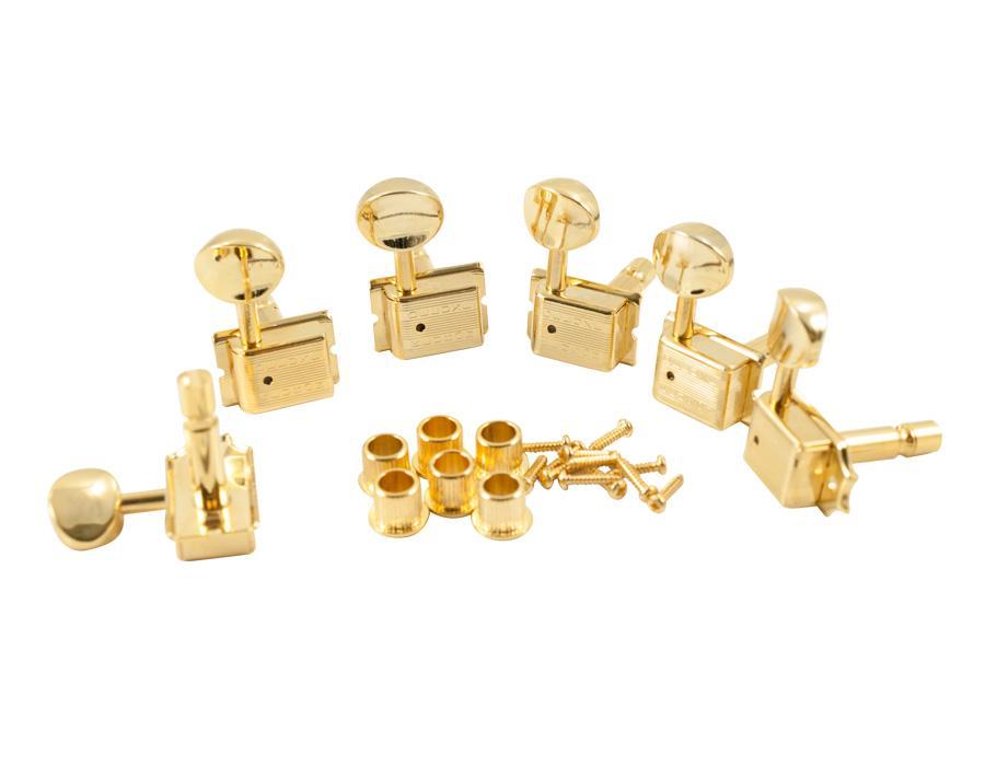 gold kluson deluxe locking tuners fender strat tele double line 6 in line gotoh ebay. Black Bedroom Furniture Sets. Home Design Ideas