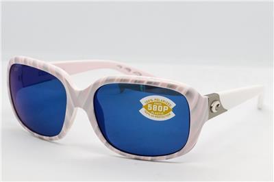 New Costa del Mar Gannet Polarized Sunglasses Seashell White//Blue 580P Women