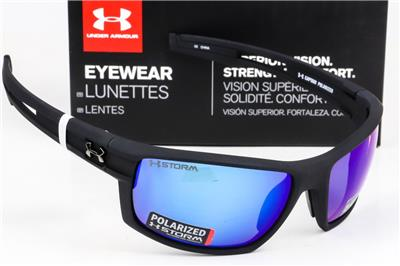 2026c9ba89 Details about NEW UNDER ARMOUR CAPTAIN SUNGLASSES UA Satin Black   Blue  Mirror Storm Polarized