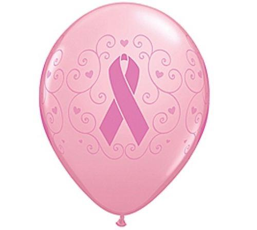"""Ribbon Cancer Awareness 12/"""" Printed Latex Hot Pink Balloons Pack of 10"""